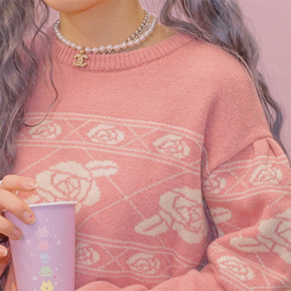 vintage rose knit ( 3 color )