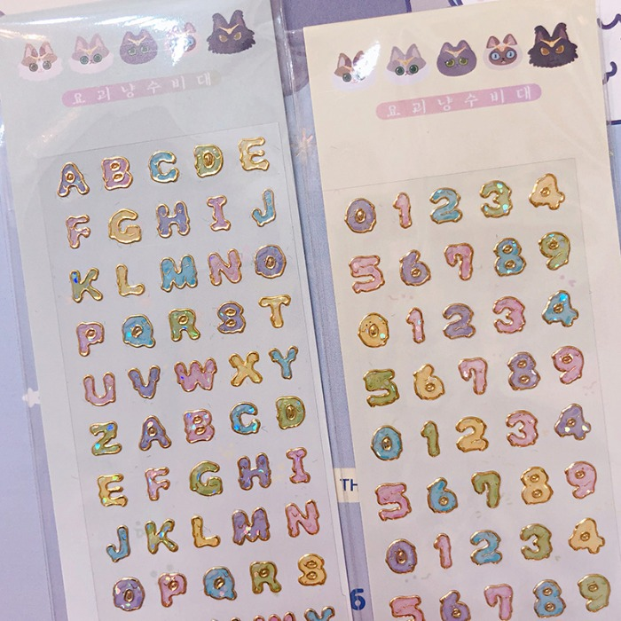 monster cat guardians* glitter sticker -  숫자 , 알파벳