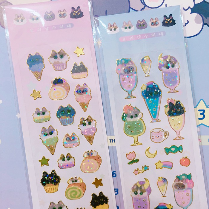 monster cat guardians*glitter sticker-sweet
