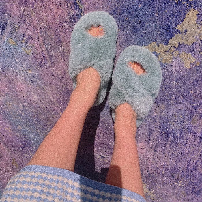 winter fur slippers ( 5 color / 6 size )